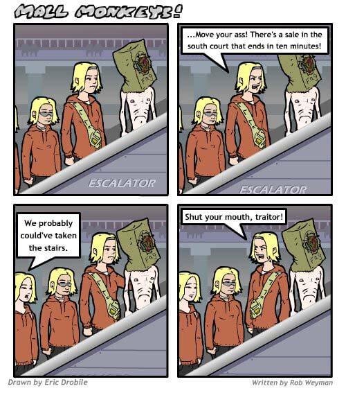Mall Monkeys Comic - Escalator