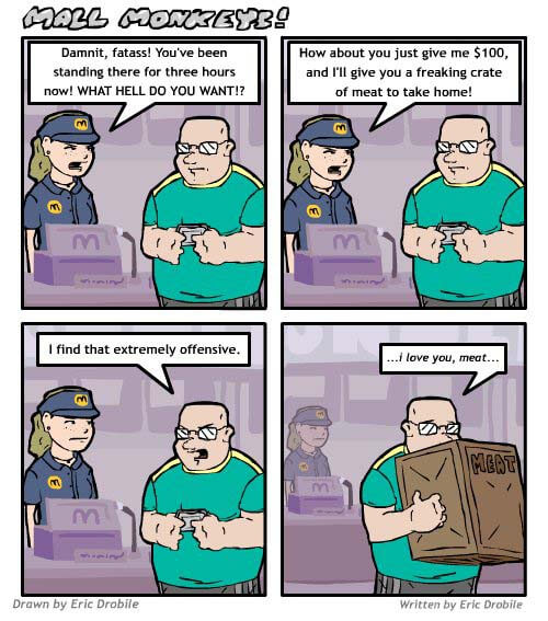 Mall Monkeys Comic - I Love You, Meat