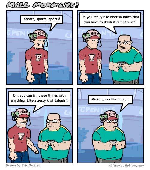 Mall Monkeys Comic - Beer Hats