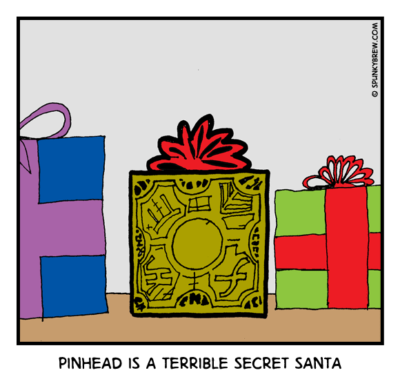 Pinhead is a terrible Secret Santa - webcomic strip